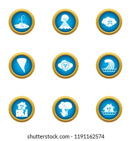 Devastated land icons set. Flat set of 9 devastated land vector icons for web isolated on white background