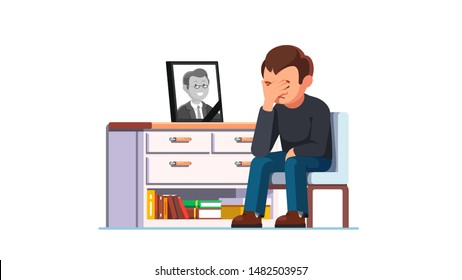 Devastated man mourning over death of colleague or relative suffering from psychological pain and sense of loss. Sitting next to photograph with black ribbon in frame. Flat vector character illustration