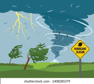 A devastating tornado in the countryside is breaking trees. bad weather landscape and road sign of disaster and warning. Flat Vector Illustration