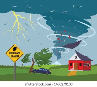 A devastating tornado destroys a house, a roof flies away, trees break. bad weather landscape and a sign of disaster and warning. Flat Vector Illustration