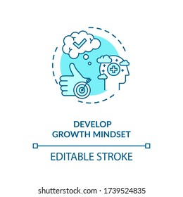 Develop growth mindset concept icon. Personal development, self improvement idea thin line illustration. Optimism, positiver attitude. Vector isolated outline RGB color drawing. Editable stroke