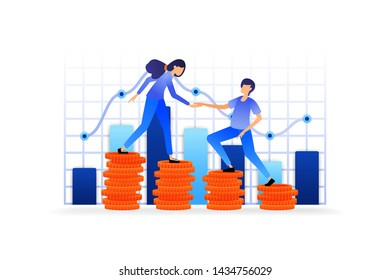 develop money investment assets into profit. monitor the company's accounting management with diagrams and carts. vector illustration concept for landing page, web, ui, banner, flyer, poster, template