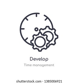 develop outline icon. isolated line vector illustration from time management collection. editable thin stroke develop icon on white background
