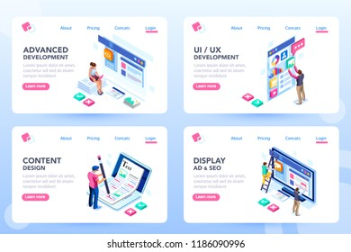 Develop, web development, process concept, webdesign advertising, engine for software content. Visual front infographic of program optimization concept. Characters flat isometric vector illustration.
