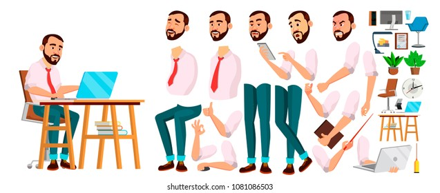 Developer Character Office Worker Vector. Face Emotions, Various Gestures. People Animation Creation Set. Businessman Person. Software Servant, Workman, Officer. Isolated Character Illustration