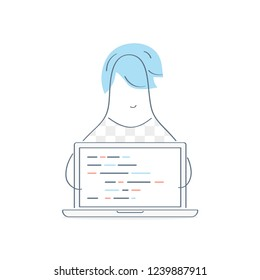 Developer, laptop with code and programmer behind computer. Software development, code review, programmer coding a new project using computer. Outline vector illustration design concept on white.