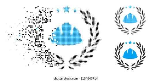Developer laureal wreath icon in dispersed, dotted halftone and whole versions. Points are grouped into vector disappearing developer laureal wreath icon. Disappearing effect involves rectangle dots.