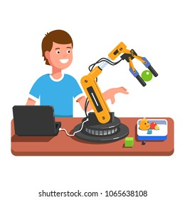 Developer student boy programming, controlling robotic arm using computer. Robotic arm handling toy ball. Educational robotics and artificial intelligence studying. Flat vector illustration