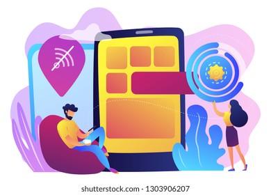 Developer working on web app on smartphone, user offline, tiny people. Progressive web app, working offline web, PWA application development concept. Bright vibrant violet vector isolated illustration