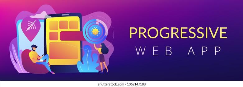 Developer working on web app on smartphone, user offline, tiny people. Progressive web app, working offline web, PWA application development concept. Header or footer banner template with copy space.
