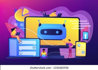 Developers building, testing and deploying chatbots on platforms. Chatbot platform, virtual assistant development, cross-platform chatbot concept. Bright vibrant violet vector isolated illustration