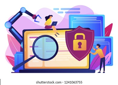 Developers, robot work at laptop with magnifier. Industrial cybersecurity, industrial robotics malware, safeguarding of industrial robotics concept. Bright vibrant violet vector isolated illustration