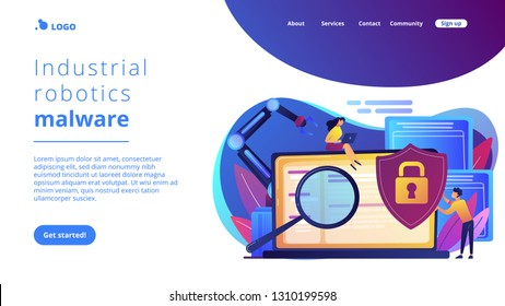 Developers, robot work at laptop with magnifier. Industrial cybersecurity, industrial robotics malware, safeguarding of industrial robotics concept. Website vibrant violet landing web page template.