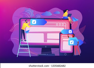 Developers use software on devices. Cross-platform software, multi-platform and platform-independent software concept on ultraviolet background. Bright vibrant violet vector isolated illustration