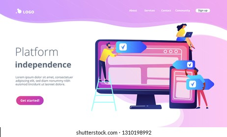 Developers use software on multiple devices. Cross-platform software, multi-platform and platform-independent software concept on white background. Website vibrant violet landing web page template.