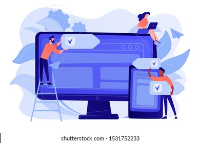 Developers use software on multiple devices. Cross-platform software, multi-platform and platform-independent software concept on white background. Pinkish coral bluevector isolated illustration