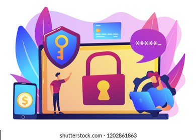 Developers work on cyber security program. Cyber security software, information security program and antivirus concept on white background. Bright vibrant violet vector isolated illustration