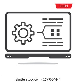 Developing, App Browser and Coding icon vector isolated on white background.