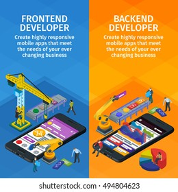 Developing mobile applications flat 3d isometric style. Horizontal banners set web design. Frontend and backend app. People working on startup. 3d crane and robotic arm. Flat isometric infographics