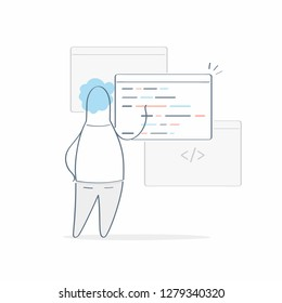 Developing programming and coding technologies concept. Cartoon programmer with browser windows and code, website design, coding. Programmer working in a software development office. Outline vector