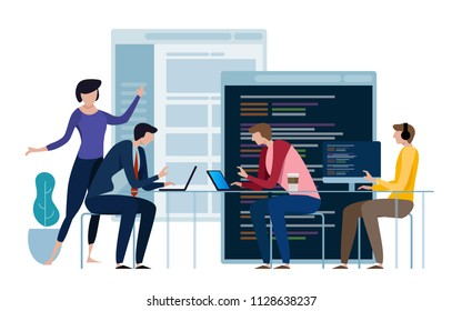 Developing programming and coding technologies. Website design. Programmer working in a software develop company office in a team work. vector
