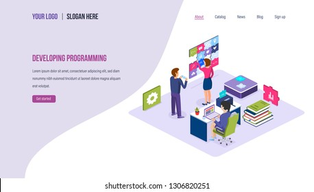 Developing programming. Technology process of software development. Programming application code in high-level languages, SEO, mobile app, business solutions. Landing page template. Isometric vector.