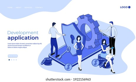 Development  application  for secure payments.The concept of the Internet of payments banking job.The development team is testing the applications.3D image.Isometric vector illustration.