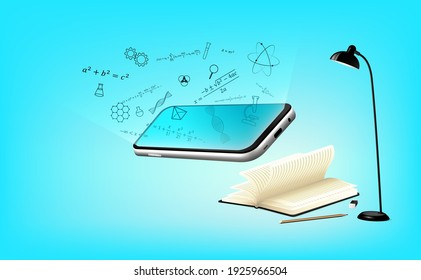 Development application virtual and augmented reality display technology for online learning non-school education on mobile phone, concept academic study multimedia on screen for vector illustration