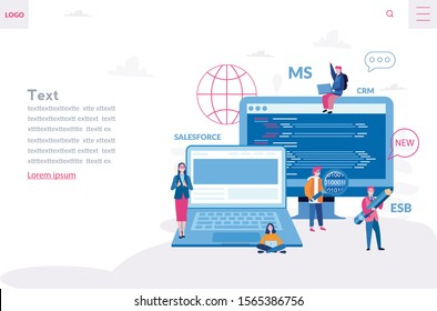Development of a back-end front-end platform for business process , data interactions integration. Vector illustration Complex integrations Salesforce CRM, MS CRM,
