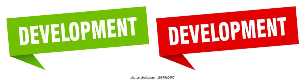 development banner sign. development speech bubble label set