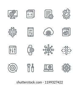 development, configuration service, hardware, settings line icons set on white