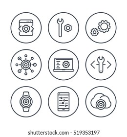 development, engineering, configuration line icons in circles for apps and web