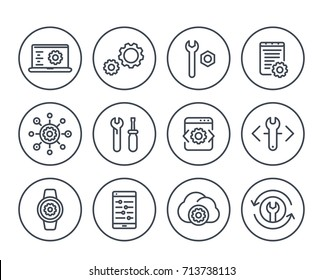 development, engineering, configuration line icons for apps and web