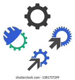 Development gearwheel icon symbol set. Vector illustration style is flat iconic symbols, isolated on a white background. Development gearwheel pictograms.