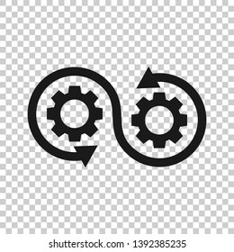 Development icon in transparent style. Devops vector illustration on isolated background. Cog with arrow business concept.
