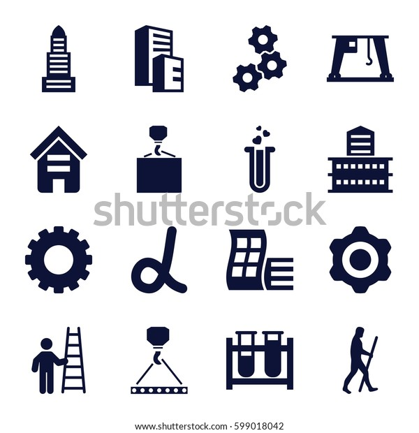 development icons set. Set of 16 development filled icons such as gear, building, modern curved building, business center, hook with cargo, test tube, cargo crane