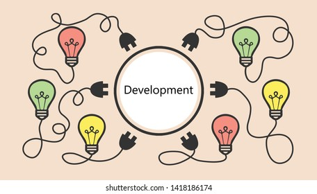 Development and innovation high technology vector illustration