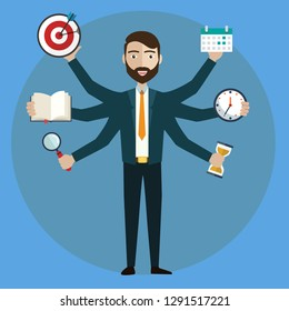 Development and internet service. Human resource and self employment - vector illustration