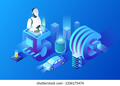 The development of new energy vehicles new technology electric car battery isometric illustration