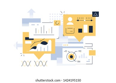 Development process of interface design vector illustration. Steps of creation website with person profile and charts graphs diagram flat style concept. Creative construction