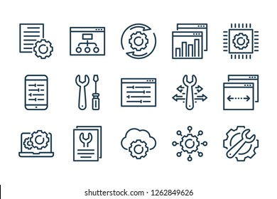 Development and settings related line icon set. Configuration and web service linear vector icons.
