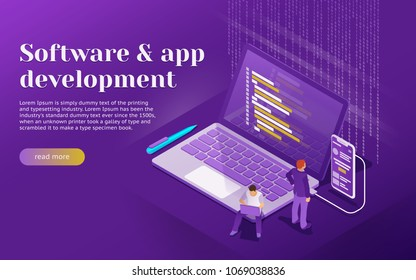 Development of software and mobile app. Program code on laptop and phone screen. Launch a new product on a market. People are working on a new project. Startup concept with flat 3d isometric style.