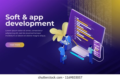 Development of software and mobile app. Program code on monitor and phone screen. Analysts and managers working on startup. People are working. Future 3d isometric vector illustration.