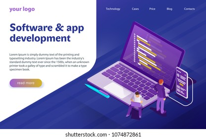 Development of software and programming. Program code on computer screen and phone screen. Launch a new product on a market. Laptop in flat isometric style. Design template from landing page or banner