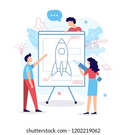 The development team creates a drawing of the rocket. Business concept. Teamwork. Web development. Flat vector illustration.