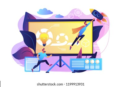 Development team member and scrum master working on Agile project for product ownerand stakeholders. Agile project management concept. Bright vibrant violet vector isolated illustration