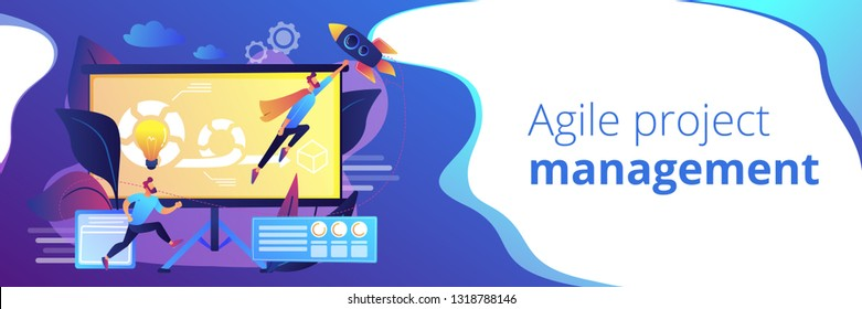 Development team member and scrum master working on Agile project for product ownerand stakeholders. Agile project management concept. Header or footer banner template with copy space.