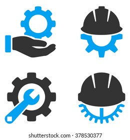 Development Tools vector icons. Style is flat bicolored symbols painted with blue and gray colors on a white background, angles are rounded.