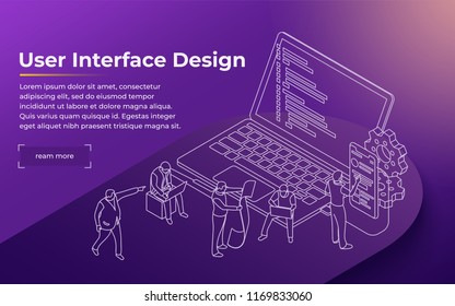Development of the user interface. People work in a team and achieve the goal. Launch a new product on a market. Landing page template. Modern line illustration. Vector image.