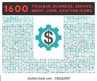 Development vector icon and 1600 other business, service tools, medical care, software toolbar, web interface pictograms. Style is bicolor flat symbols, grey and cyan colors, rounded angles, white